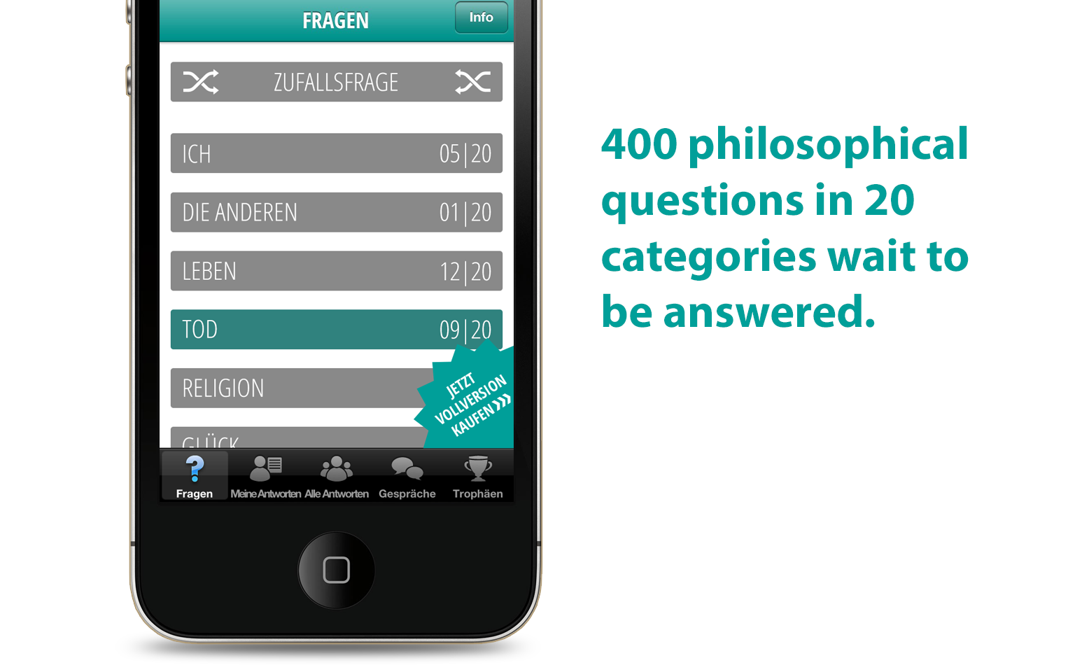 Big questions - short answers. Philosophical iPhone app - slide 1